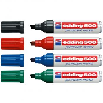 edding Permanent Marker 500 im 4er-Etui, schwarz, rot, blau, grün