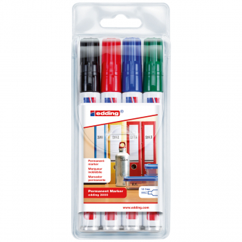edding Permanent Marker 3000 im 4er-Etui, schwarz, rot, blau, grün