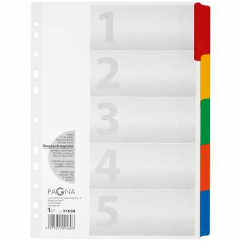 Pagna Karton-Register Blanko 5-teilig, weiss