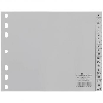 Durable Kunststoff-Register A - Z, 20-teilig, grau, halbe Höhe