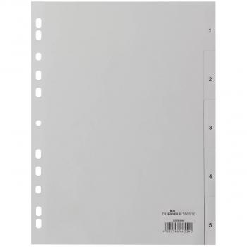 Durable Kunststoff-Register mit Nummerierung 1 - 5, 5-teilig, grau