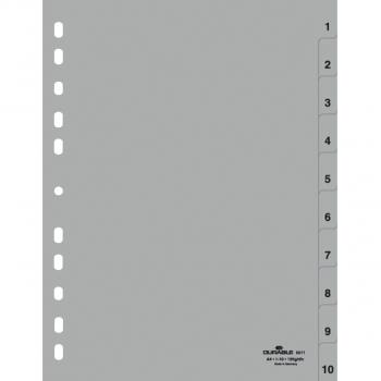 Durable Kunststoff-Register mit Nummerierung 1 - 10, 10-teilig, grau