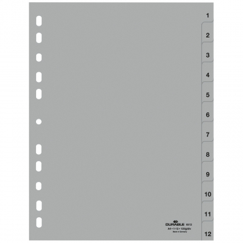 Durable Kunststoff-Register mit Nummerierung 1 - 12, 12-teilig, grau