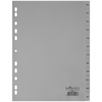 Durable Kunststoff-Register mit Monaten Dez - Jan, 12-teilig, grau