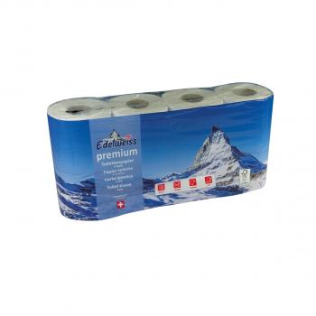 Toilettenpapier Edelweiss premium, 4-lagig, hochweiss, 9.5 x 13 cm, Pack à 8 Rollen