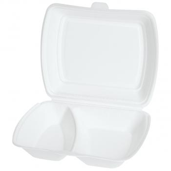 Einweg-Menüschalen für Inhalt 750 ml, 23 x 19 x 7 cm, 2-teilig, Pack à 100 Stück