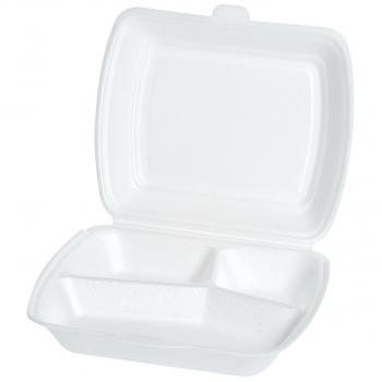 Einweg-Menüschalen für Inhalt 700 ml, 23 x 19 x 7 cm, 3-teilig, Pack à 100 Stück