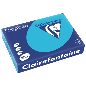 Trophée Kopierpapier farbig intensiv, A4, 80 g/m2, Packung zu 500 Blatt, wasserblau