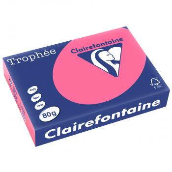 Clairefontaine Trophée Farblaser-/Farbkopierpapier in A4, 80 g/m², Pack à 500 Blatt, pastellrosa