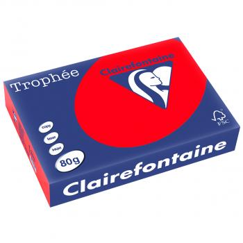 Trophée Kopierpapier farbig intensiv, A4, 80 g/m2, Packung zu 500 Blatt, korallenrot