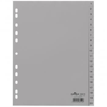 Durable Kunststoff-Register mit Nummerierung 1 - 20, 20-teilig, grau