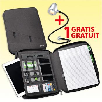 dufco Konferenzmappe mit Powerbank, anthrazit, im Format A4 + eine LED-Leuchte Snake GRATIS!