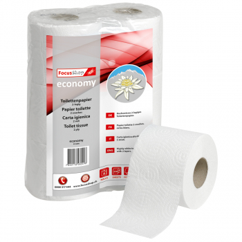 Toilettenpapier FocusShop 2-lagig, hochweiss, 9.5 x 11.5 cm, Pack à 6 Rollen