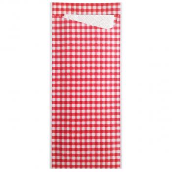 Bestecktaschen 8 cm x 19 cm mit Karo rot/weiss, Karton à 350 Stück