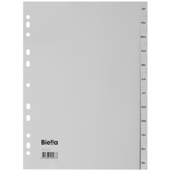 Biella Kunststoff-Register mit Monaten Jan - Déc, 12-teilig, grau