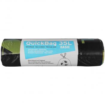 Sacs poubelle sans mention OKS 35 litres, noir, rouleau de 20 pièces, avec lien coulissant