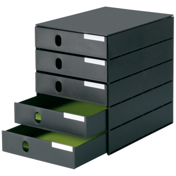 styro Schubladenbox styroval pro mit 5 geschlossen Schubladen, schwarz