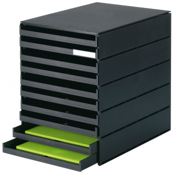 styro Schubladenbox styroval pro mit 10 geschlossenen, schwarz