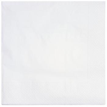 Servietten weiss, 2-lagig, 33 x 33 cm, 1/4 Falz, randgeprägt, Karton à 2'400 Stück