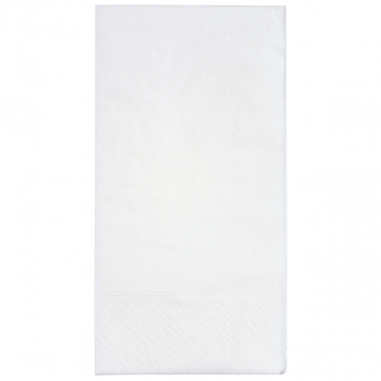Servietten weiss, 2-lagig, 33 x 33 cm, 1/8 Kopffalz, randgeprägt, Karton à 2'400 Stück