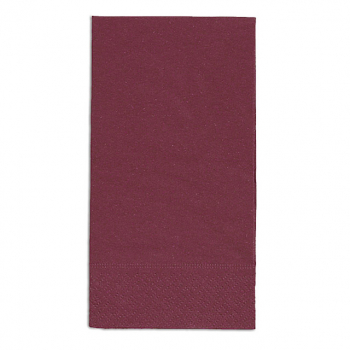Servietten bordeaux, 2-lagig, 33 x 33 cm, 1/8 Kopffalz, randgeprägt, Pack à 100 Stück