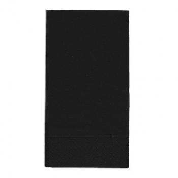 Servietten schwarz, 2-lagig, 33 x 33 cm, 1/8 Kopffalz, randgeprägt, Pack à 100 Stück