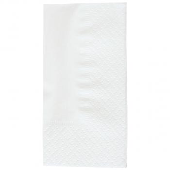 Servietten weiss, 3-lagig, 40 x 40 cm, 1/8 Kopffalz, randgeprägt, Karton à 2'000 Stück