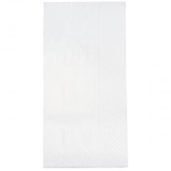 Servietten weiss, 2-lagig, 40 x 40 cm, 1/8 Kopffalz, randgeprägt, Karton à 3'000 Stück