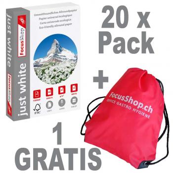 20 Pack à 500 Blatt FocusShop Kopierpapier/Universalpapier just white in A4, 80 g/m² + Turnbeutel- GRATIS!
