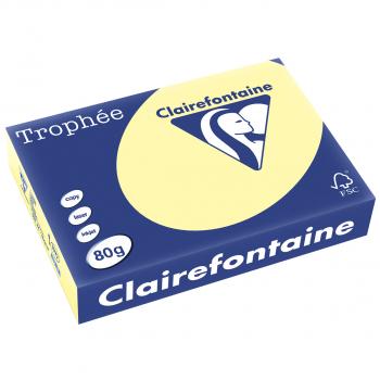 Clairefontaine Trophée Farblaser-/Farbkopierpapier in A4, 80 g/m², Pack à 500 Blatt, pastellgelb