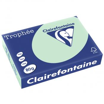 Clairefontaine Trophée Farblaser-/Farbkopierpapier in A4, 80 g/m², Pack à 500 Blatt, pastellgrün
