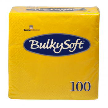 BulkySoft Cocktail Servietten, gelb, 2-lagig, 24 x 24 cm, 1/4 Falz, Karton à 3'000 Stück