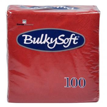 BulkySoft Cocktail Servietten, rot, 2-lagig, 24 x 24 cm, 1/4 Falz, Karton à 3'000 Stück