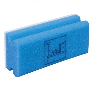 Padschwamm Vlies mit Griff, blau-weiss, Piktogramm