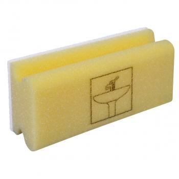 Padschwamm Vlies mit Griff, gelb-weiss, Piktogramm