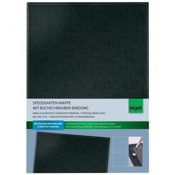 Speisekarten-Mappe mit Buchschrauben-Bindung A4,schwarz