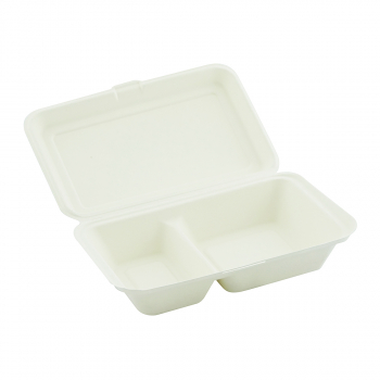 Menü-Box aus Bagasse mit Klappdeckel, 2-teilig, 241 x 163 x 65 mm, Karton à 250 Stück