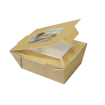 Food-to-go box small mit Deckel und Fenster, 600 ml, 80 x 125 x 60 mm, Karton à 210 Stück