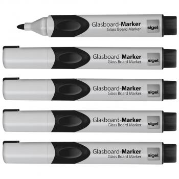 Glas-Magnetboard-Marker im 5er-Etui, Rundspitze 2-3 mm, schwarz