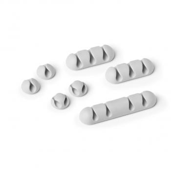 Kabel-Clips selbstklebend CAVOLINE CLIP MIX für mehrere USB-Kabel, grau