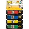 Post-it Index Mini Haftstreifen rot, blau, gelb & grün, Pack à 4 x 35 Stück